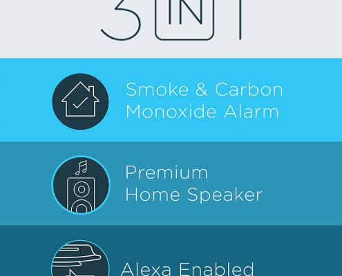 Alexa Enabled Smoke Detector and Carbon Monoxide Detector Alarm